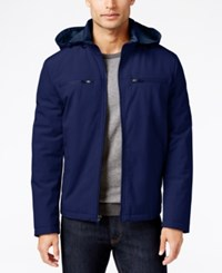 Kenneth Cole Soft Shell Bomber Jacket With Removable Hood Ink