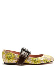 Rochas Mary Jane Floral Brocade Flats Yellow Silver