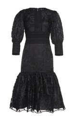 Costarellos Victorian Midi Lace Dress Black
