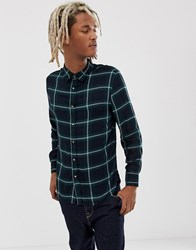 Bershka Check Shirt In Green With Button Down Collar