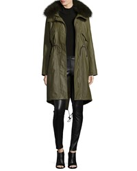 Alice Olivia Quinton Long Sleeve Hooded Fur Trim Coat Olive Forest Green
