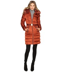 Vince Camuto Belted Down With Removable Hood And Removable Faux Fur Collar L8691 Rust Women's Coat Red