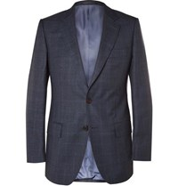 Gieves And Hawkes Navy Slim Fit Checked Wool Suit Jacket Navy