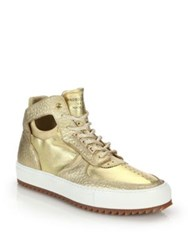 Android Delta Mid Top Leather Sneakers Gold