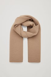 Cos Pleated Knit Scarf Beige