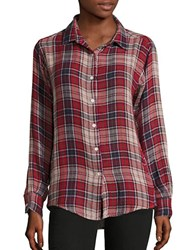 Velvet By Graham And Spencer Plaid Button Down Shirt Red