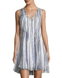 Shoshanna Ayanna Feather Print Silk Dress Blue White
