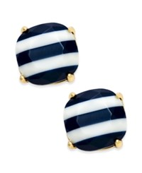 Kate Spade New York 14K Gold Plated Nautical Striped Stud Earrings Navy
