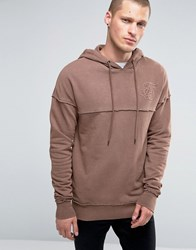 Sik Silk Siksilk Hoodie With Raw Edges Tan