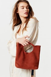 Urban Outfitters Cutout Handheld Suede Bag Brown