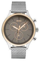 Boss Men's Companion Chronograph Mesh Bracelet Watch 42Mm Gunmetal Stainless Steel