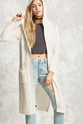 Forever 21 Purl Knit Hooded Cardigan Cream