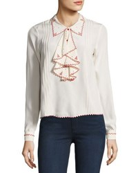 Zadig And Voltaire Embroidered Scalloped Silk Blouse Cream