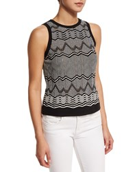 M Missoni Frequency Zigzag Sleeveless Top Teal