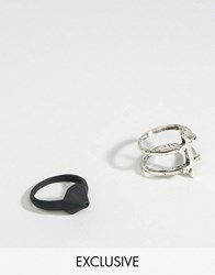Designb London Cross And Geo Ring In 2 Pack Exclusive To Asos Multi