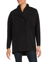 Jones New York Wool Blend Oversized Collar Coat Black