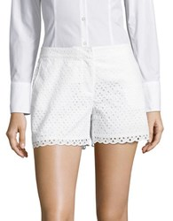 Rafaella Petite Scalloped Eyelet Shorts White