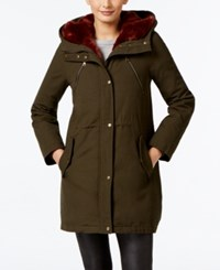 Vince Camuto Contrast Faux Fur Hood Parka Olive Rust