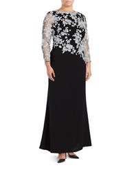 Tadashi Shoji Floral Embroidered Long Sleeve Sheath Gown Ivory Black