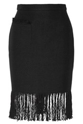 Adam By Adam Lippes Fringed Linen And Cotton Blend Tweed Skirt Black