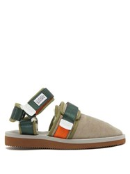 Suicoke Nots Mab Shearling Lined Velcro Strap Loafers Grey Multi