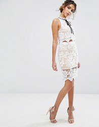 Endless Rose Floral Lace Skirt Co Ord Off White Nude Multi