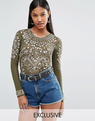A Star Is Born Iridescent Sequin Long Sleeve Body Olive Green Gold