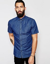 Only And Sons Short Sleeve Denim Shirt Mid Denim Blue