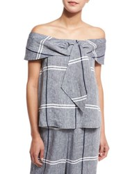 Suno Off The Shoulder Plaid Linen Blend Blouse Chambray