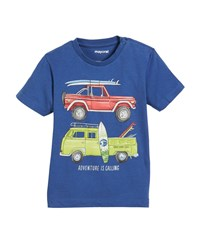 Mayoral Short Sleeve Surf Wagons Graphic T Shirt Size 12 36 Months Blue