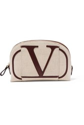 Valentino Garavani Go Logo Small Leather Trimmed Canvas Cosmetics Case Beige