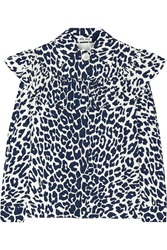 Miu Miu Ruffled Leopard Print Cotton Faille Blouse