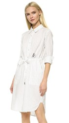 Edition10 Pinstripe Shirtdress Black White Stripe