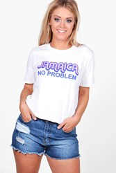 Boohoo Lydia 'Jamaica No Problem' Slogan Tee White