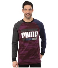 Puma Blocked Raglan Peacoat Italian Plum Print Men's Long Sleeve Pullover Red