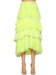 Ermanno Scervino Ruffled Lace Cotton And Linen Skirt Yellow