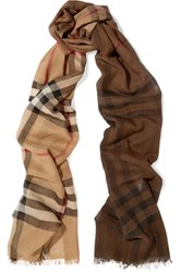 Burberry Checked Wool And Silk Blend Scarf Camel