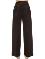 Fendi Compact Jersey High Waist Palazzo Pants Brown