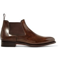 Santoni Polished Leather Chelsea Boots Brown