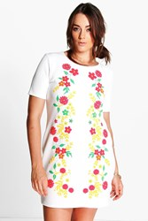 Boohoo Rae Floral Print Shift Dress Cream