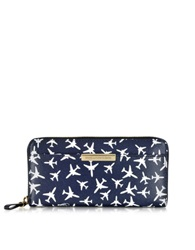 Diane Von Furstenberg Voyage Airplane Midnight Zip Continental Leather Wallet Blue