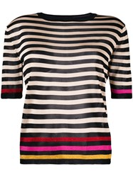 Marco De Vincenzo Striped Knitted Top Nude And Neutrals