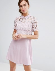 Little White Lies Philo Dress Lace Shift Dress With Collar Blush Pink