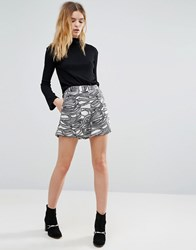 Native Youth Scribble Print Short Black White
