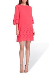 Tahari Embroidered Ruffle Sleeve Shift Dress Azalea