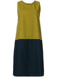 Odeeh Colour Block Shift Dress Cotton Green