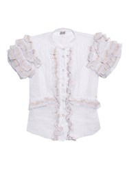 Jupe By Jackie Ruffle Sleeves Cotton Organdy Blouse