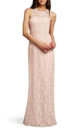 Women's Donna Morgan 'Harper' Lace Illusion Neck Column Gown Pearl Pink