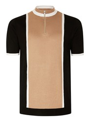 Topman Brown Camel And Black Zip Neck Knitted T Shirt