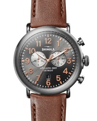 Shinola 47Mm Runwell Titanium Chronograph Watch With Brown Leather Strap Silver